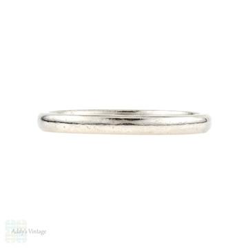 Vintage Platinum Wedding Band, Ladies Narrow Stacking Court Fit Ring. Size M/ 6.25.