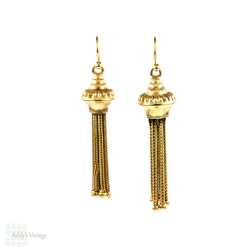 Victorian Tassel Earrings, Antique Silver Gilt Dangles on 9ct 9k Gold Wires.