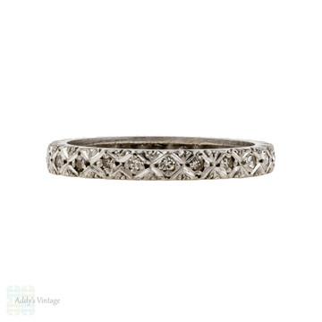 Diamond Eternity Ring, Vintage 18ct 18k White Gold Full Hoop. Size J.5 / 5.25.