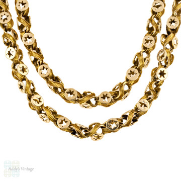 Victorian 15ct Fancy Link Chain, Star Design Antique 15k Gold Necklace. 52cm / 20.5 inches.