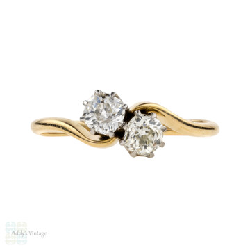 Victorian Toi et Moi Engagement Ring, Old Mine Cut Diamonds, 0.73 ctw. 18ct & Platinum.
