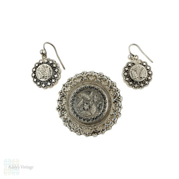 Victorian Floral Earring & Brooch Set, Sterling Silver Demi-Parure in Fitted Box. Chester 1880s.