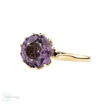 Amethyst 9ct Single Stone Ring, 1960s Vintage 9k Yellow Gold Soliataire.