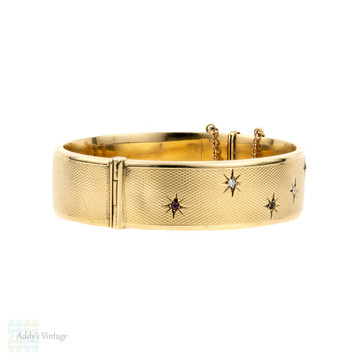 Ruby & Diamond 1960s 9ct Bracelet, 9k Yellow Gold Star Design Engine Turned Bangle.