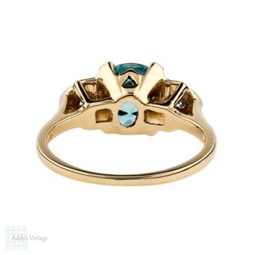 Blue Zircon Engagement Ring, Vintage Single Stone 14k Yellow & Gold 1940s Ring.