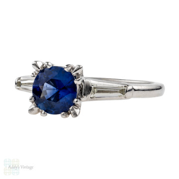 Sapphire & Diamond Engagement Ring, 0.90ct in Tapered Baguette Platinum Mount.