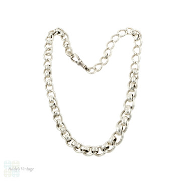 Sterling Silver Graduated Chain Necklace, 1920s Chunky Watch Chain with Dog Clip.