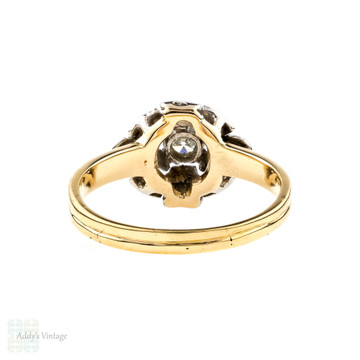 Vintage Diamond Ring, Engraved 14k 14ct Two Tone Gold Love Heart & Ribbon Design.