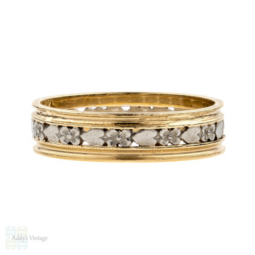 Flower & Heart Engraved Wedding Ring, Mid Century Two Tone 14K Gold & Palladium Wide Band. Size O / 7.25.
