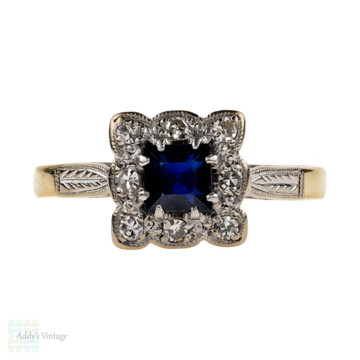 Square Sapphire with Diamond Halo Vintage Engagement Ring, Engraved 18ct Gold & Platinum.