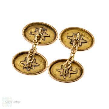 Victorian 9ct Cuff Links, Antique Engraved Leaf Foliate Design 9k Gold Cufflinks.