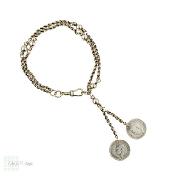 Victorian Sterling Silver Albertina Bracelet with Coins Art Deco Coins.