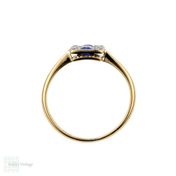 Sapphire & Diamond Art Deco Triple Row Panel Ring, 18ct Gold & Platinum, Circa 1920s.