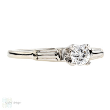 Diamond Solitaire Engagement Ring, 0.18 ct Vintage 14k White Gold.