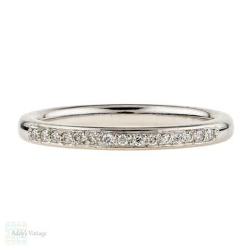Diamond Set Platinum Wedding Ring, Estate Half Hoop Band. Size I / 4.5.