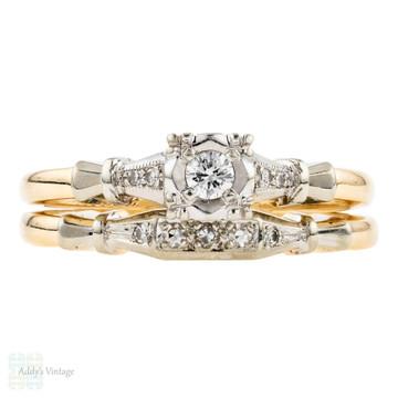 1940s Wedding & Engagement Ring Set, Vintage Two Tone 14k Gold ArtCarved Bands.