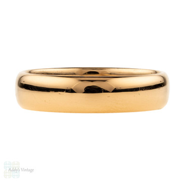 RESERVED Antique 22ct Wedding Ring, Art Deco Wide 22k Gold Band. Circa 1920, Size R / 8.75.