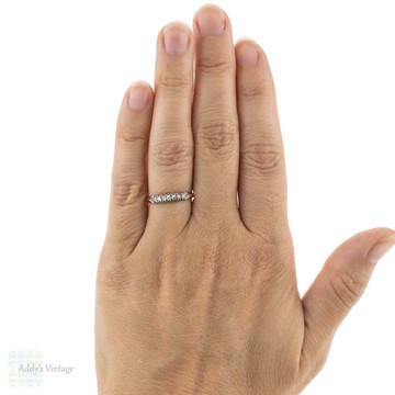 Vintage 1940s Diamond Wedding Ring, 14K Yellow Gold & Palladium Seven Stone Band.