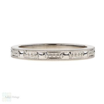 Tiffany & Co Engraved Platinum Wedding Band, Beaded Pattern Ladies Ring. Size J / 5.