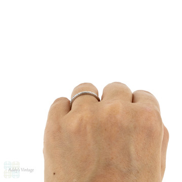 1940s Engraved Platinum Wedding Ring, Orange Blossom Flower Ladies Band. Size O / 7.5.