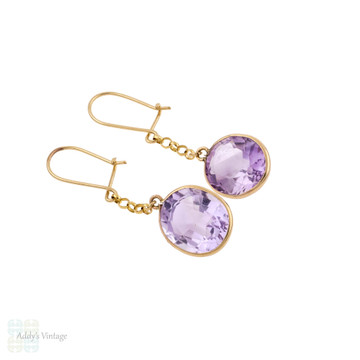 Vintage Amethyst Drop Earrings, 9ct 9k Yellow Gold Bezel Set Dangle Earrings.
