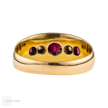 Ruby & Diamond Five Stone Gypsy Ring, Antique 18k 18ct Gold Chester Hallmarked Band.