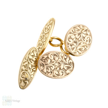 Antique Engraved 9ct Gold Front Cuff Links, Foliate Design Double Face Cufflinks, Circa 1900.