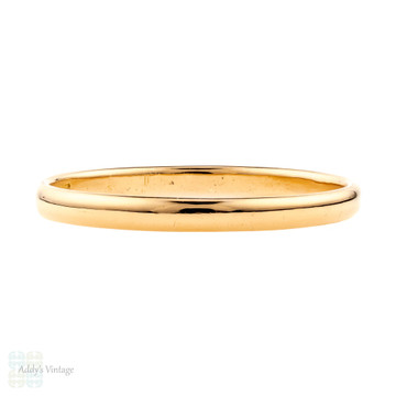 Art Deco 22ct Gold Wedding Ring, Vintage 1930s Narrow 22k Band. Size S / 9.25.