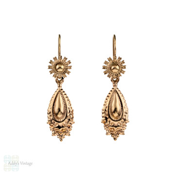 RESERVED Vintage 9ct Dangle Earrings, 9k Rose Gold Puffed Articulated Drop Earrings.