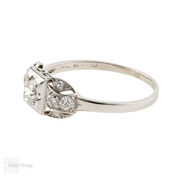 RESERVED Platinum Stepped Diamond Engagement Ring, Vintage 1920s Art Deco Old European Cut Ring.