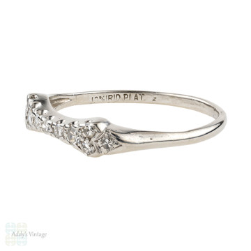 Art Deco Curved Diamond Wedding Band, Platinum Shaped Contoured 1920s Ring.