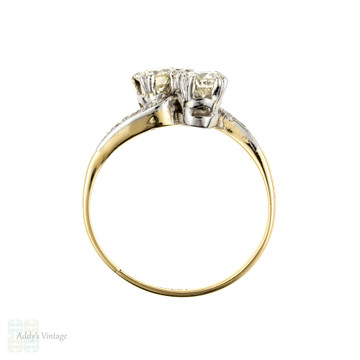 Toi et Moi Diamond Engagement Ring, 18ct Gold & Platinum Stylish 1930s Bypass Design Ring, 0.53 ctw.