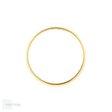 Vintage 22ct Gold Wedding Ring, D Shape 1960s 22k Band. Size Q.5 / 8.5.