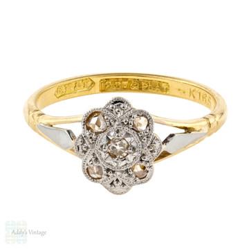 1920s Diamond Engagement Ring, Art Deco Vintage Five Stone Cluster Ring. 18ct & Platinum.