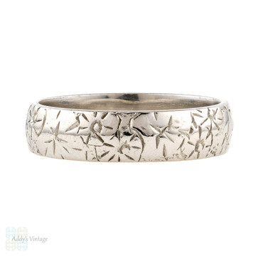 Antique Engraved Wedding Ring, Floral Pattern Wide Platinum Band. Size N / 6.75.