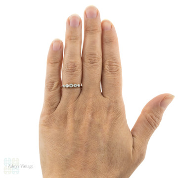 RESERVED Art Deco Five Stone Ring, Graduated Bezel Set Old Cut Diamond Band. 18ct Platinum.