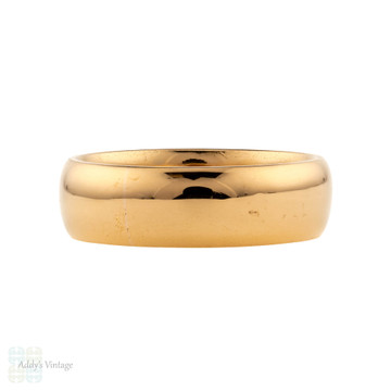 Antique 22ct Wedding Ring, Heavy Wide 1920s Art Deco 22k Band, Size N.5 / 7.