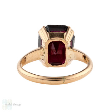 Antique Garnet Single Stone Ring, 14ct 14k Rose Gold. Rectangular Step Cut Gemstone.