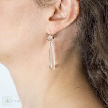 Rock Crystal Art Deco Drop Earrings, Long Sterling Silver Dangles. Circa 1930s.