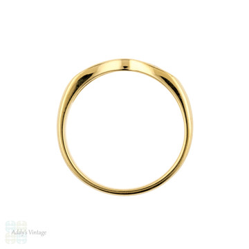 Curved Diamond Wedding Band, Vintage 18ct 18k Yellow Gold Wishbone Shaped Ring.