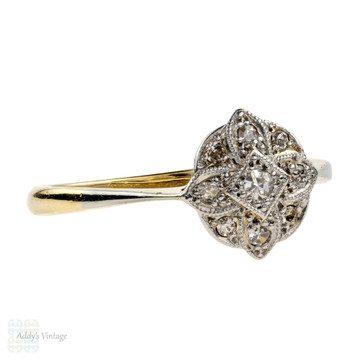 Art Deco Diamond Engagement Ring, Vintage 1920s Round Shaped Cluster. 18ct & Platinum.