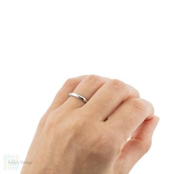1920s Ladies 18ct White Gold Wedding Band, Simple Orange Blossom Traub 18k Ring. Size L.5 / 6.
