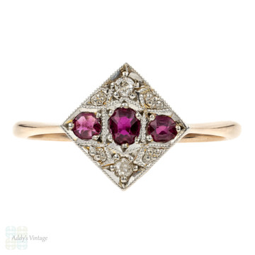 Ruby & Diamond Engagement Ring, Art Deco Square Shape Cluster in 9ct & Platinum.
