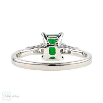 Emerald Diamond Engagement Ring, Classic Platinum Tapered Baguette Diamond Ring.