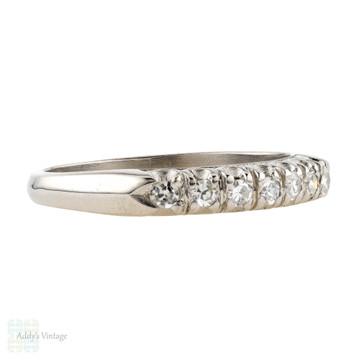 Art Deco Platinum Diamond Wedding Ring, Vintage Half Hoop Diamond Eternity Band. Circa 1930s.