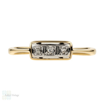 Art Deco Three Stone Diamond Ring, 18ct & Platinum Wedding Eternity Band.