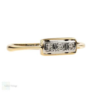 Art Deco Three Stone Diamond Ring, 18ct & Platinum Wedding Eternity Band.
