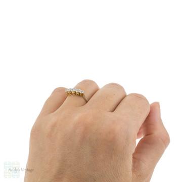Art Deco Five Stone Engagement Ring, Graduated Diamond Wedding Band. 18ct Platinum.
