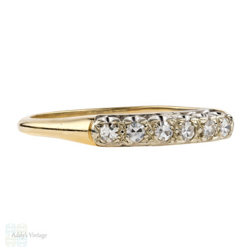 Vintage 14k Two-Tone Diamond Wedding Ring, Half Hoop Mid 20th Century Band.