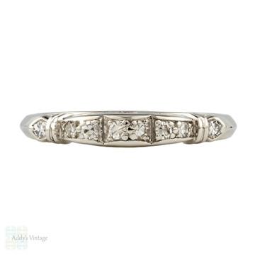 RESERVED Vintage Diamond Wedding Ring, Art Deco Platinum Half Hoop Eternity Band. Circa 1930s.